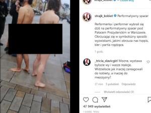 Aborcjoniści mają nowy pomysł? Naga para protestowała przed Pałacem Prezydenckim