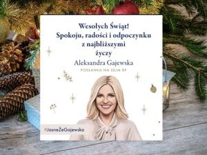 Co świętuje Pani Gajewska - urodziny, imieniny? Kartka świąteczna posłanki KO z własnym wizerunkiem