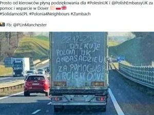 [FOTO] Wzruszające podziękowania Polakom za akcję w Dover namazane na naczepie TIRa