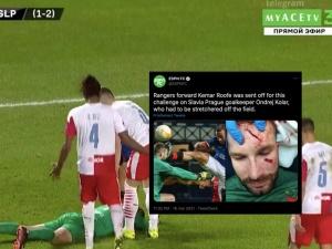 [Video] Dramatyczny faul podczas meczu. Piłkarz został trafiony korkiem prosto w twarz