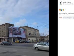W Gdańsku-Wrzeszczu stanął gigantyczny baner reklamowy. Na S nałożono karę, tym razem urzędnicy... nie widzą problemu