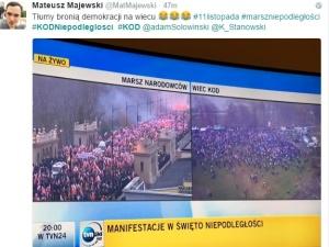 """A """"obrońcy demokracji"""" w Święto Niepodległości chyba nie dopisali. Czy ktoś czuje się zaskoczony?"""