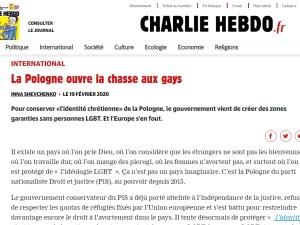 """Charlie Hebdo: """"Polska rozpoczyna polowanie na gejów. Rząd stworzył strefy wolne od LGBT"""""""