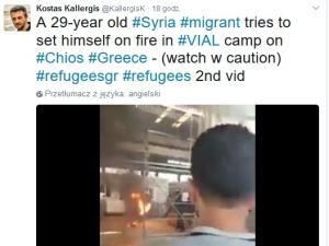 [video] Syryjski uchodźca podpalił się w Grecji na oczach dziennikarzy