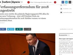 """Panic: FAZ o referendum w/s nowej polskiej konstytucji: Krytycy ostrzegają przed """"państwem autorytarnym"""""""