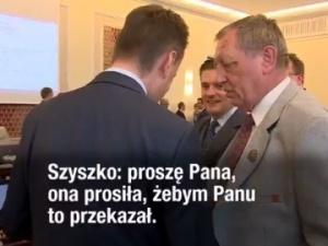 [video]: Minister Błaszczak do ministra Szyszki: A tam jest kamera Polsatu