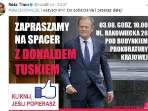 """Róża Thun zaprasza na """"spacer z Donaldem Tuskiem"""". """"Z Tuskiem nawet na Rakowiecką!!!"""""""