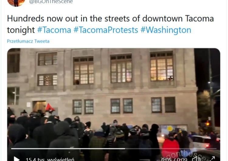 """Tacom/Waszyngton Awantura w USA! Antifa demoluje Waszyngton. """"Krzyczeli by uwolnić więźniów"""""""