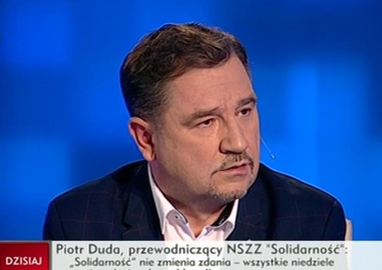 zrzut ekranu Piotr Duda: Solidarność nie zmienia zdania - wszystkie niedziele mają być wolne