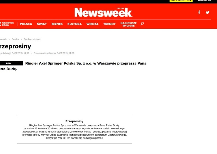 Newsweek przeprasza Piotra Dudę po 3-letnim procesie. Ale jak? Żenujące